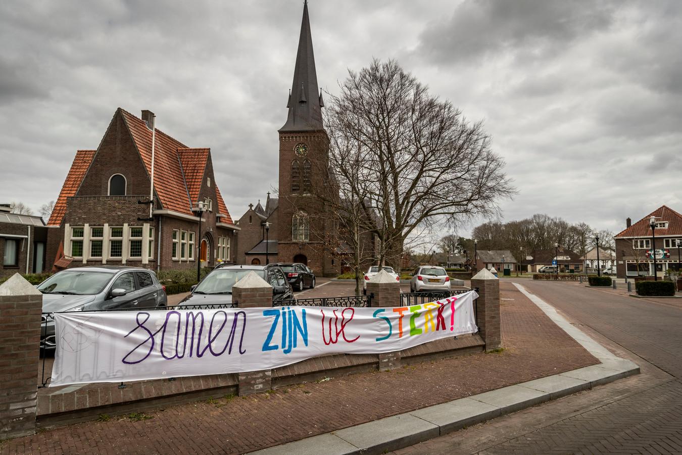 Het centrum van Riethoven is verlaten tijdens de coronacrisis.