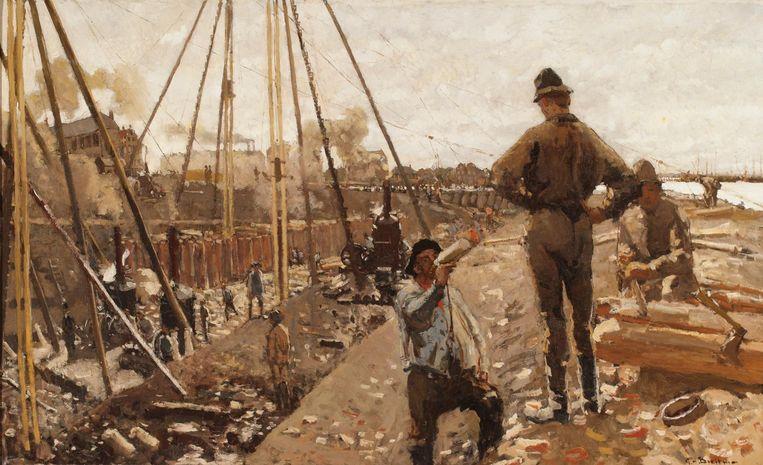 George Hendrik Breitner, Heiwerk aan de Van Diemenstraat, 1897. Beeld Particuliere collectie
