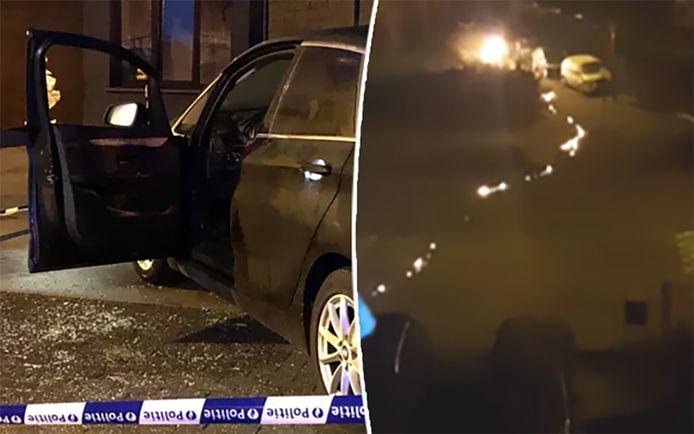 Een man stak in Wilrijk een auto in brand (l.), maar vatte vervolgens zelf vuur. Hij liep weg en liet daarbij een vuurspoor achter (r.).