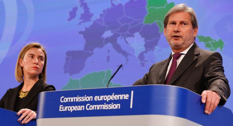 Federica Mogherini en de Eurocommissaris voor Nabuurschapsbeleid, Johannes Hahn.