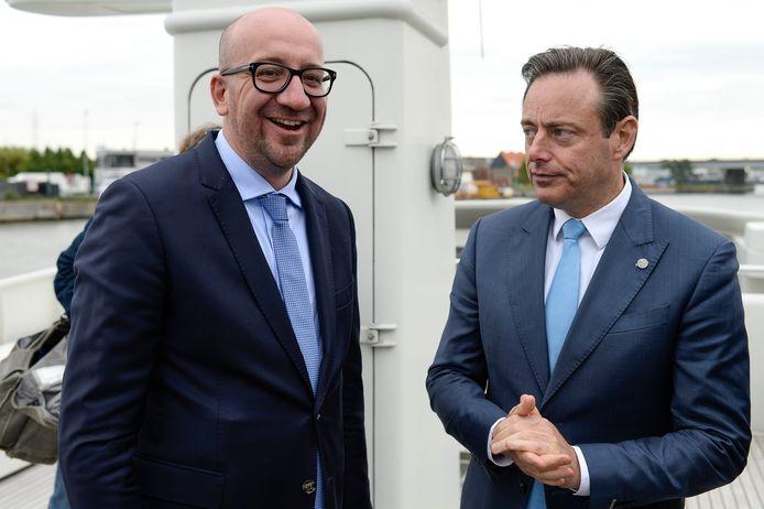 Premier Charles Michel en N-VA-voorzitter Bart De Wever (Archiefbeeld).