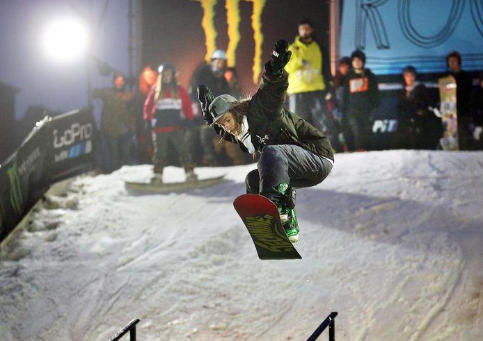 Snowboarden op de Grote Markt: het kon zaterdag.