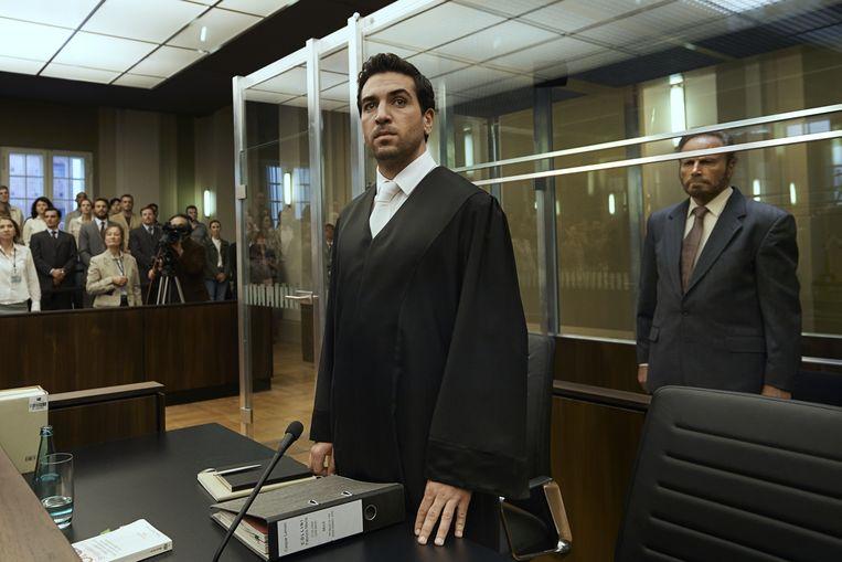 Elyas M'Barek als strafpleiter Caspar Leinen in 'Der Fall Collini'.   Beeld rv