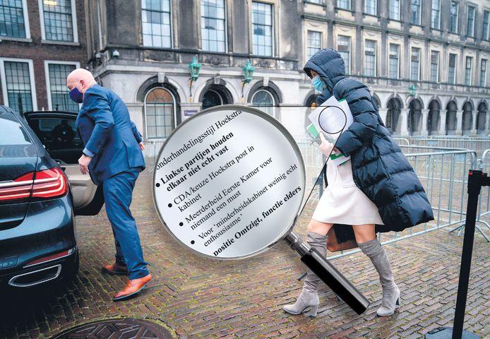 Voormalig verkenner Kajsa Ollongren met het papier waarop te lezen is: 'Pieter Omtzigt, functie elders'.