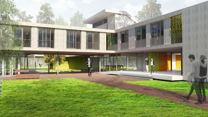 Op de plek van de paviljoens Pannenhoeve/Leemerhoeve op landgoed Eikenburg in Eindhoven komt dit woongebouw van hout (voorzijde) met  28 sociale huurwoningen van corporatie Sint Trudo.