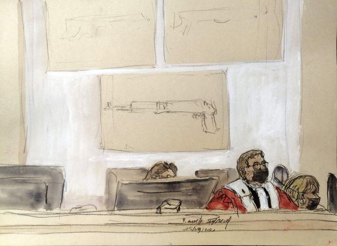 Rechter Jean-Louis Peries in de rechtszaal.