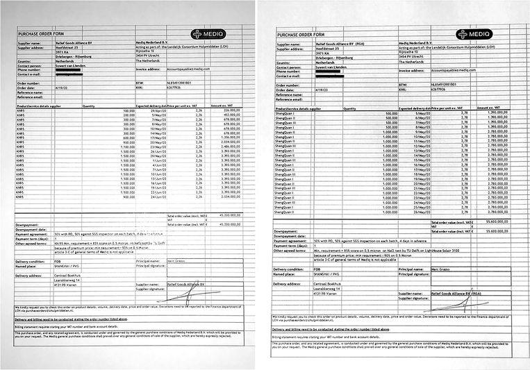 De contracten die Van Lienden en zijn compagnons uiteindelijk met hun commerciële bedrijf sloten voor de levering van mondkapjes, voor 2,26 euro en 2,78 per stuk. Beeld de Volkskrant