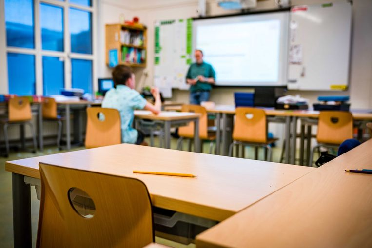 Een bijna-leeg klaslokaal. Beeld EPA