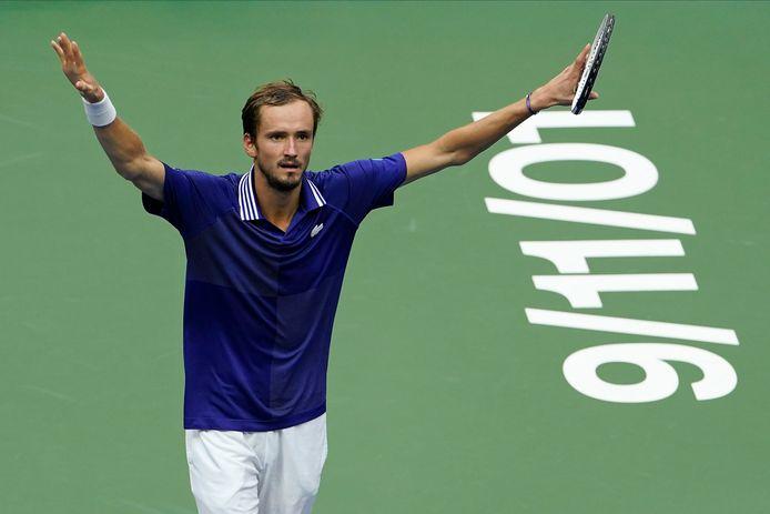 Daniil Medvedev tijdens de US Open-finale.