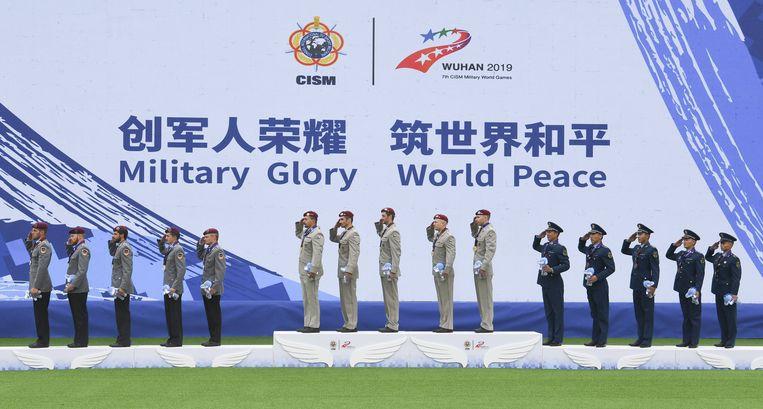 Goudenmedaillewinnaars worden geëerd tijdens de Militaire Spelen in Wuhan vorig jaar oktober. Beeld BSR Agency