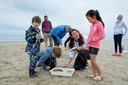 Janneke Donkers van NME Schouwen-Duiveland praat met kinderen over de vangst. Verschillende keren per week kun je met het strandteam van NME op safari vanaf het strand van Renesse