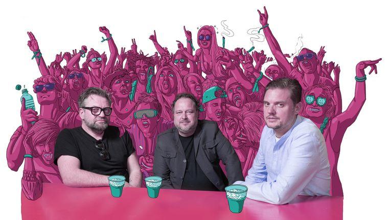 Vanaf links: festivaldirecteuren Eric van Eerdenburg (Lowlands), Marcel Mingers (Extrema) en Sjoerd Wynia (ID&T). Beeld null