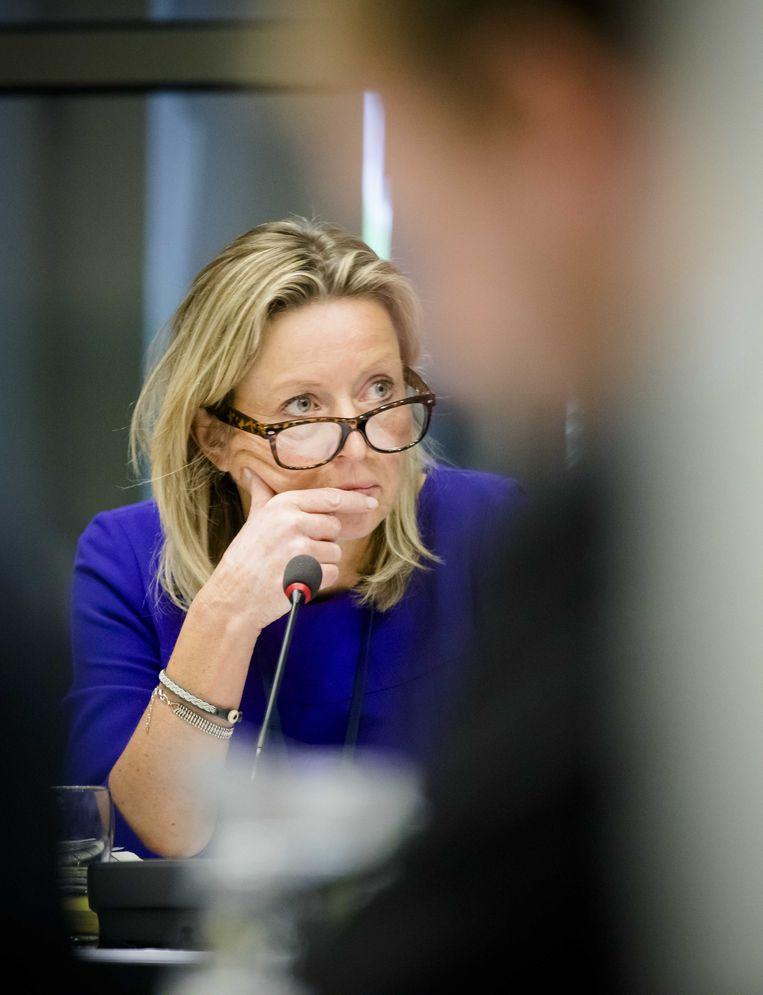 Minister Kajsa Ollongren (BZK) tijdens een algemeen overleg met de Tweede Kamer over een kritisch privacyrapport van de toezichthouder op de inlichtingendiensten, de CTIVD. Beeld ANP