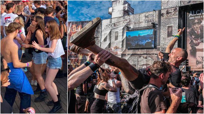 Links: Eindelijk onbezorgd samen dansen tijdens elektrofestival Paradise City in Perk. Rechts: alle remmen los op metalfestival Alcatraz in Kortrijk.