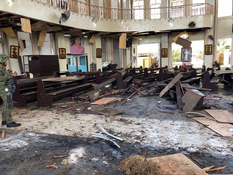 De kathedraal waar de explosies plaatsvonden in Jolo. Beeld AFP