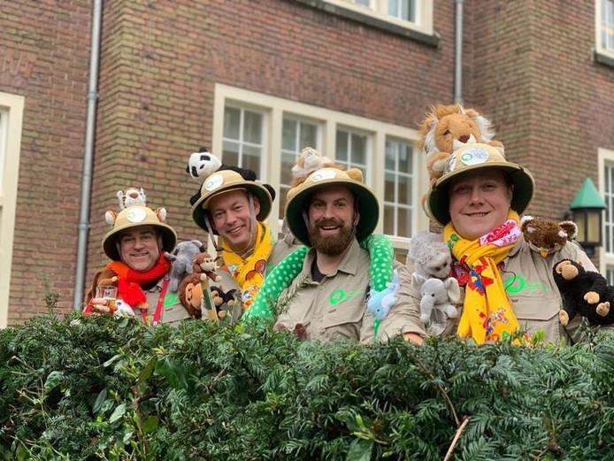 Klaas Dijkhoff, Daan Quaars, Boaz Adank en Thierry Aartsen (vlnr) als de Partij voor de Wilde Dieren tijdens carnaval 2020.