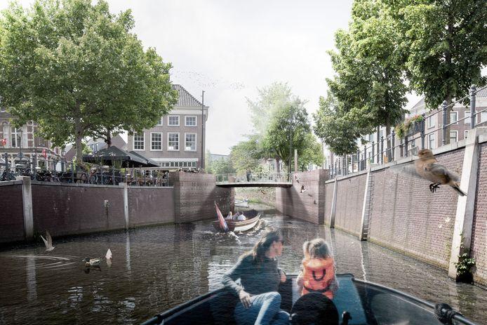 Zicht op de nieuwe Tolbrug, vanuit de haven van Breda.