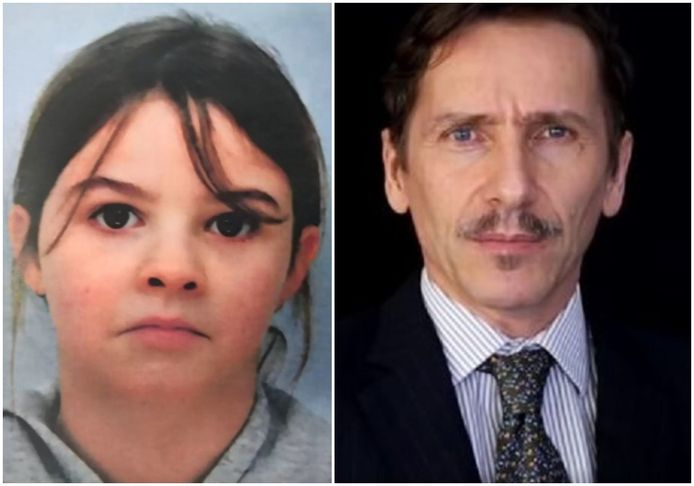 Links: de ontvoerde Mia. Rechts: complotdenker Rémy Daillet-Wiedemann.