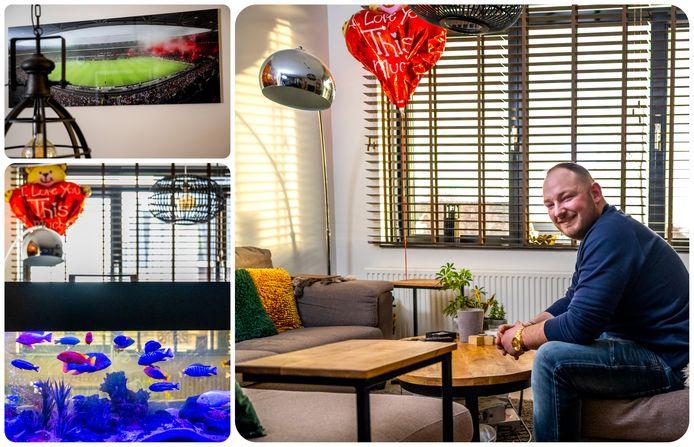 Binnenkijken bij Mitchel Vriezen in Bergschenhoek. Links zijn aquarium en zijn grote liefde Feyenoord (in de UEFA Cup finale van 2002).