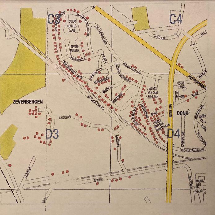 De geografische spreiding in de omgeving Zevenbergen van de mensen die protesteren tegen de afschaffing van de spoorwegovergang.