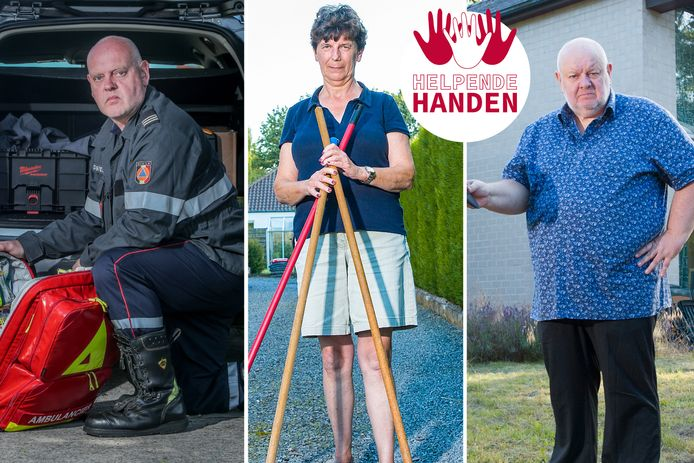 Drie vrijwilligers willen graag hulp bieden aan de getroffen landgenoten: Frank De Rudder, Annick De Schrijver, en Eddy Van Steenkiste.