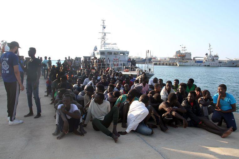 Eerder deze week onderschepte de Libische kustwacht ook al migranten. Beeld AFP