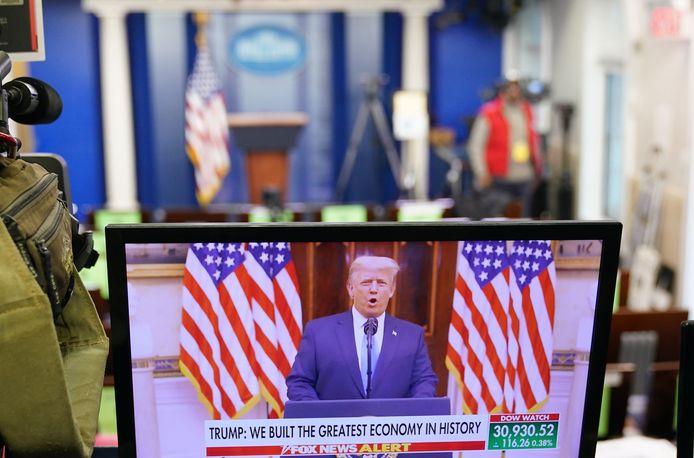 De Amerikaanse president Trump houdt zijn afscheidsspeech.
