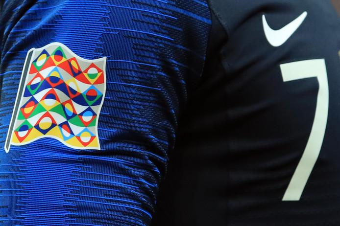 Het Nations League-logo op het shirt van Antoine Griezmann.