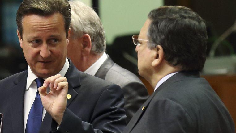 De Britse premier David Cameron en de voorzitter van de Europese Commissie, Jose Manuel Barroso. Beeld reuters