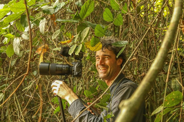 Jaap van der Waarde in Messok-Dja Nationaal Park.  Beeld WWF Congo