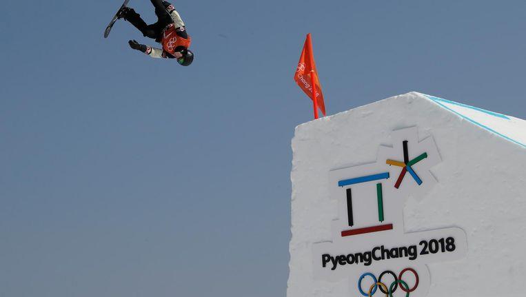 Een Canadese snowboarder traint in Pyeongchang Beeld AP