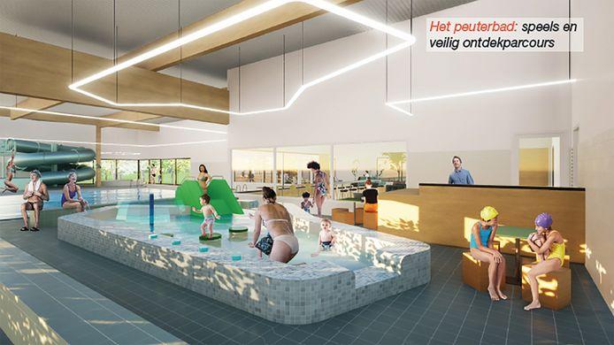 Een blik in het nieuwe zwembad, met op de voorgrond het peuterbad en op de achtergrond de glijbaan.
