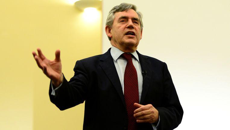 De voormalige Britse premier Gordon Brown in Kirkcaldy vanavond. Beeld GETTY