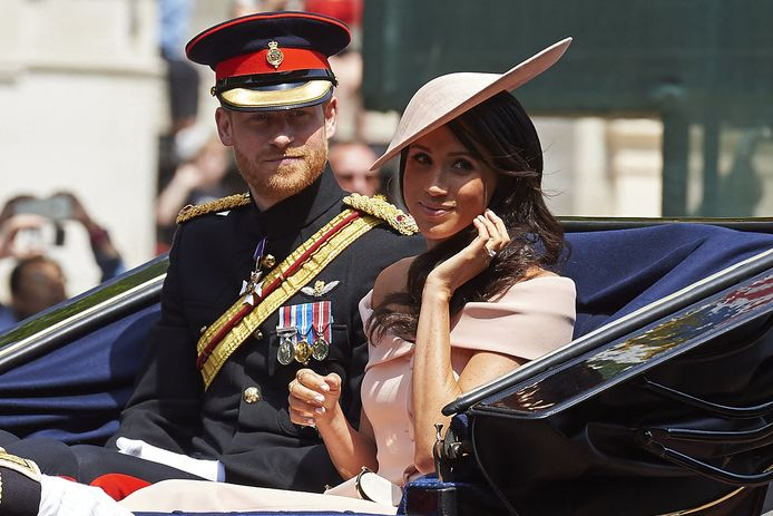 Harry en Meghan in juni 2018 tijdens de parade voor de verjaardag van de koningin.