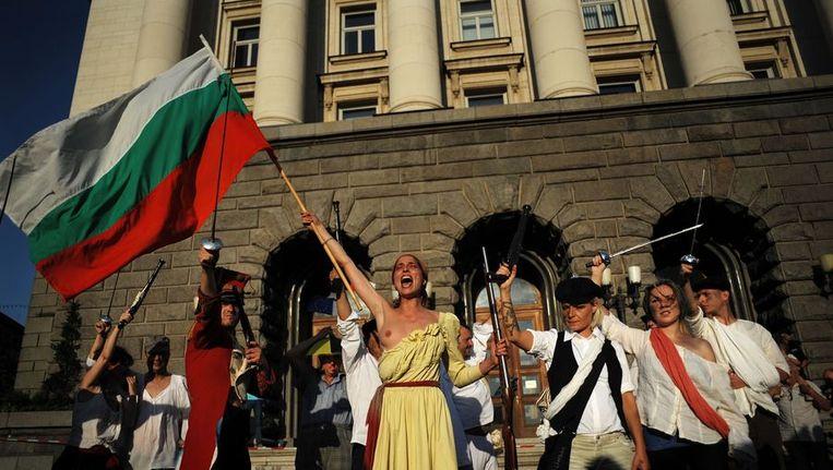 Protest in Sofia op 13 juli. Beeld AFP