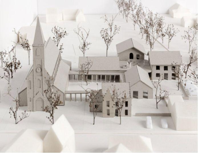 Het concept van de nieuwe polyvalente zaal naast de kerk in Hertsberge ziet er veelbelovend uit.