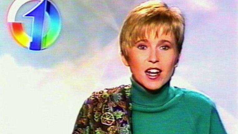 Andrea Croonenberghs als omroepster op het toenmalige TV1.