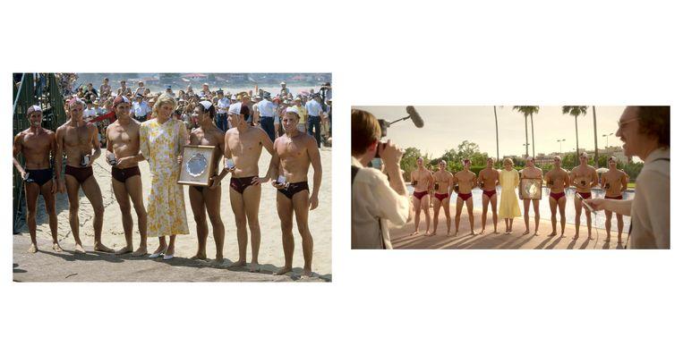 Links: Diana in een geel met witte jurk van Paul Costelloe, met een team van waterpolospelers in Sidney, Australië op 30 januari 1988. Rechts: still uit de serie. Beeld Netflix/Getty