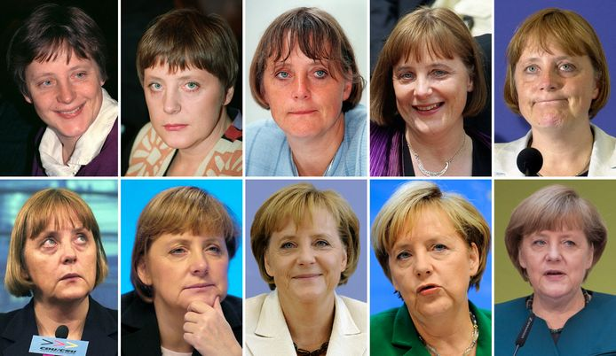 Angela Merkel (van links naar rechts en van boven naar onder) in 1991, 1994, 1997, 1999, 2000, 2001, 2003, 2009, 2010, 2013.