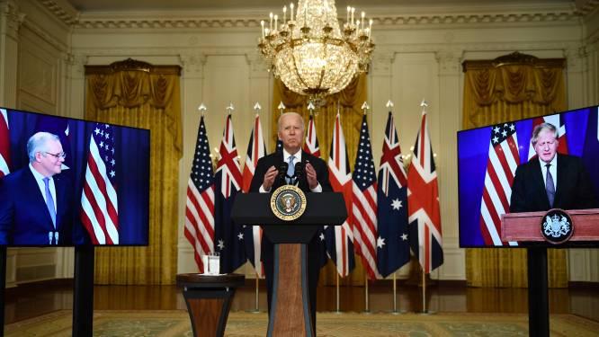 """China boos over nieuw militair pact tussen VS, VK en Australië: """"Koude-oorlogmentaliteit"""""""