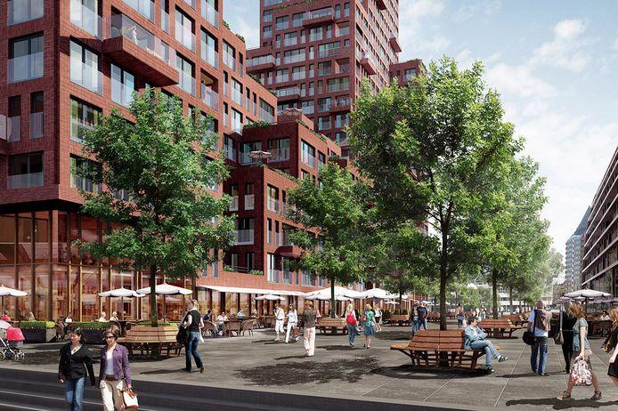 Rotta Nova krijgt terrassen aan de kant van de Markthal (rechts).