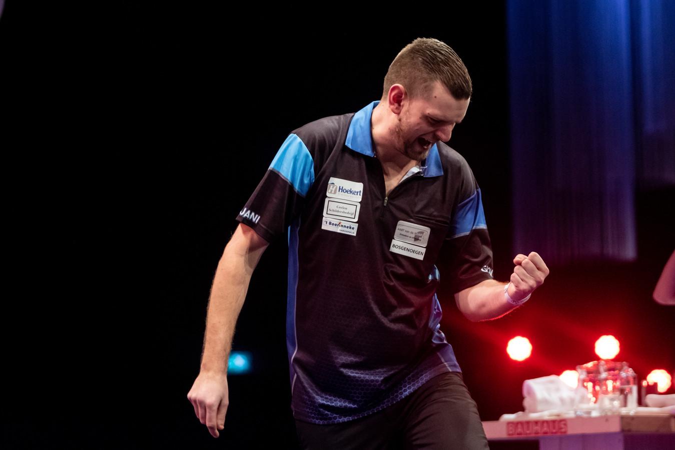 Martijn Kleermaker vorig jaar op de Dutch Open Darts.