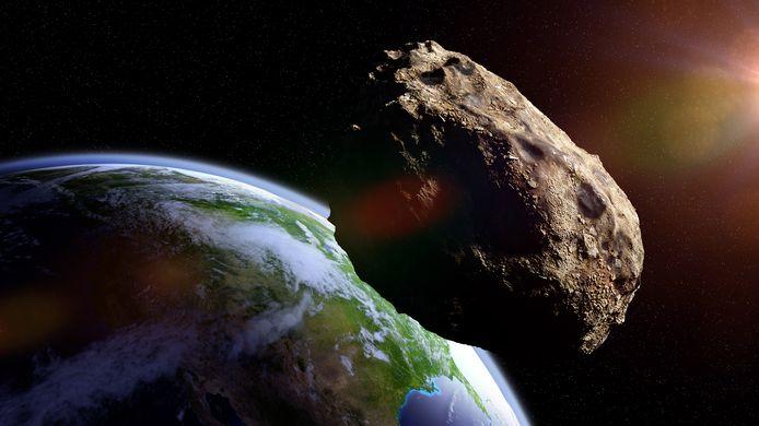Scène uit de film Armageddon, een meteoriet nadert de aarde.