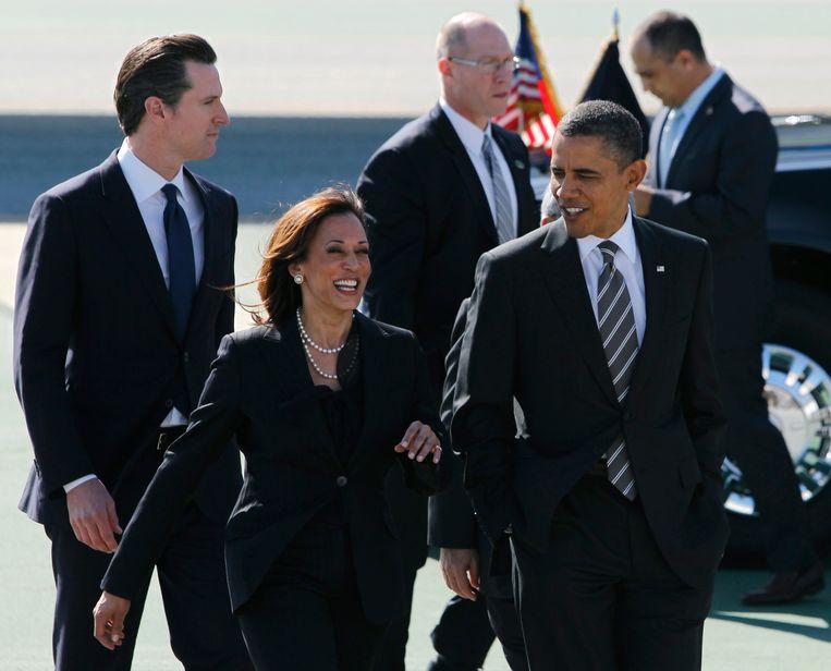 'Met Barack Obama heeft Kamala Harris een politieke alliantie. Ze zijn politieke vrienden, maar ze behoort niet tot zijn vaste entourage.' Beeld Hearst Newspapers via Getty Imag