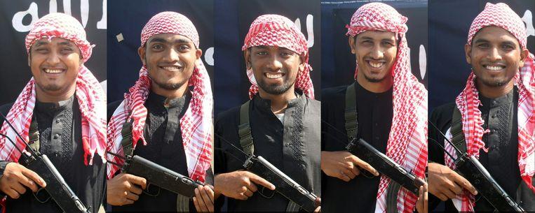 Vompilatie van vijf terroristen die betrokken zouden zijn bij de aanslag. Beeld AFP