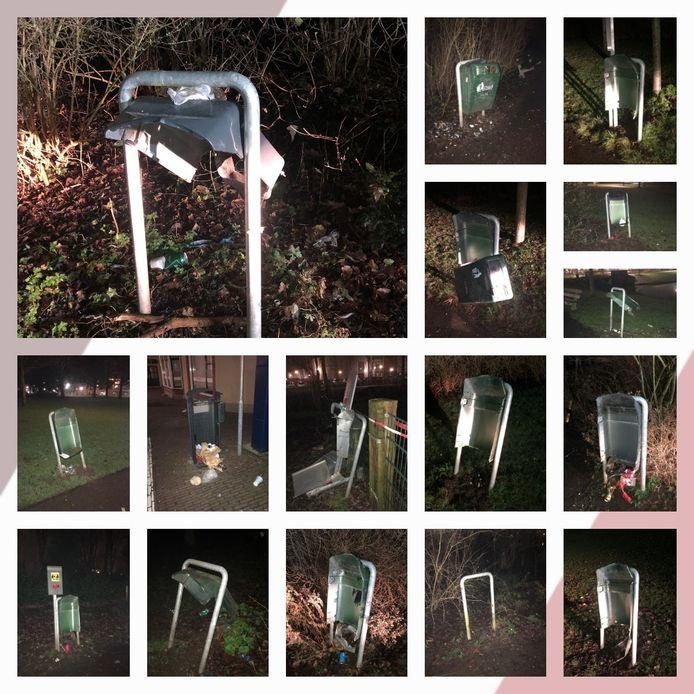 Bijna alle prullenbakken in het Kamper stadspark zijn gesneuveld tijdens de jaarwisseling.