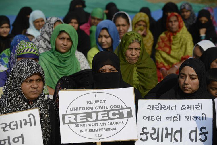 Archiefbeeld uit 2016. Indiase moslimvrouwen protesteren tegen de