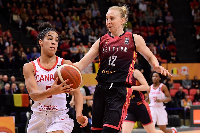 Belgian Cat Ann Wauters tegen Canada op het olympisch kwalificatietoernooi. De Spelen in 2021 haalt ze allicht niet. Beeld Photo News