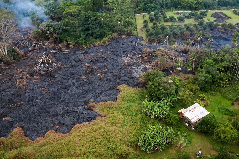 The lava flow from Mt. Kilauea inches closer to the village of Pahoa, Hawaii October 29, 2014. A slow-moving river of molten lava from an erupting volcano crept over residential and farm property on Hawaii's Big Island on Wednesday after incinerating an outbuilding as it threatened dozens of homes at the edge of a former plantation town. The lava flow from the Kilauea volcano has been slogging toward the village of Pahoa for weeks, moving at speeds of 10 to 15 yards (metres) an hour as it bubbled over a cemetery and reached the community's outskirts.  REUTERS/Marco Garcia  (UNITED STATES - Tags: DISASTER ENVIRONMENT) Beeld REUTERS