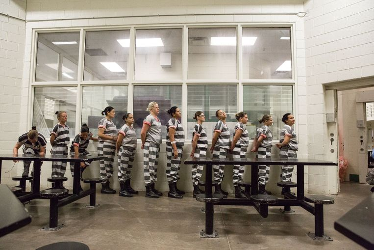 In het Estrella-blok van de gevangenis bevindt zich de enige gemengde 'chain gang' van de VS: mannen en vrouwen verrichten samen onbetaalde arbeid in de buurt van Phoenix. Ze houden onder meer de straten schoon, verwijderen graffiti en wieden onkruid. Beeld Photo News